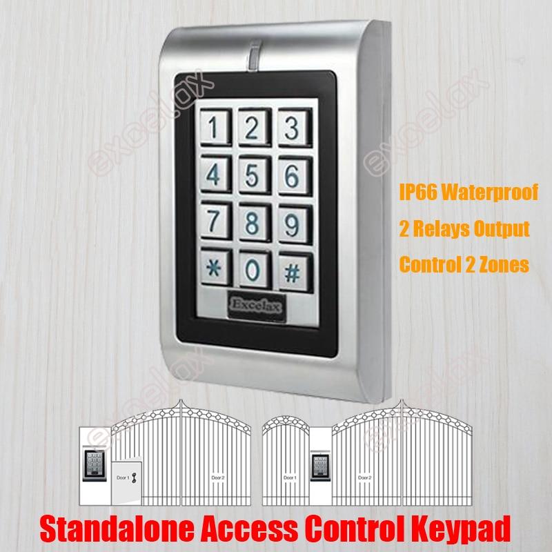 Waterproof Dual Relay Access Control Keypad Standalone IP66 Vandal Outdoor Door Open Keyboard 1100 Users 125KHZ