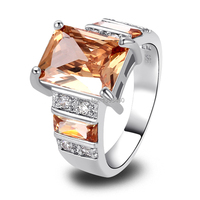 Free Shipping Art Deco Fashion Jewelry Morganite 925 Silver Ring Size 7 8 9 10 11 12 Charming Emerald Cut For Women Wholesale