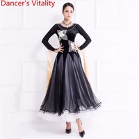 National Standard Dance Wear New Modern Dance Big Hemlines Dress Waltz Performance Costume Ballroom Dancing Practice Clothes