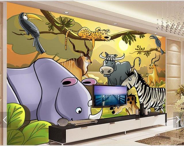 Dieren Behang Kinderkamer : Aangepaste d foto behang d muurschildering behang kinderkamer