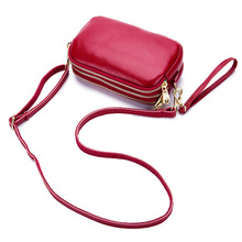 Crossbody Bags for Women Three Interlayer Mobile Phone Bag Genuine Leather Red Clutch Small Clutches 2019