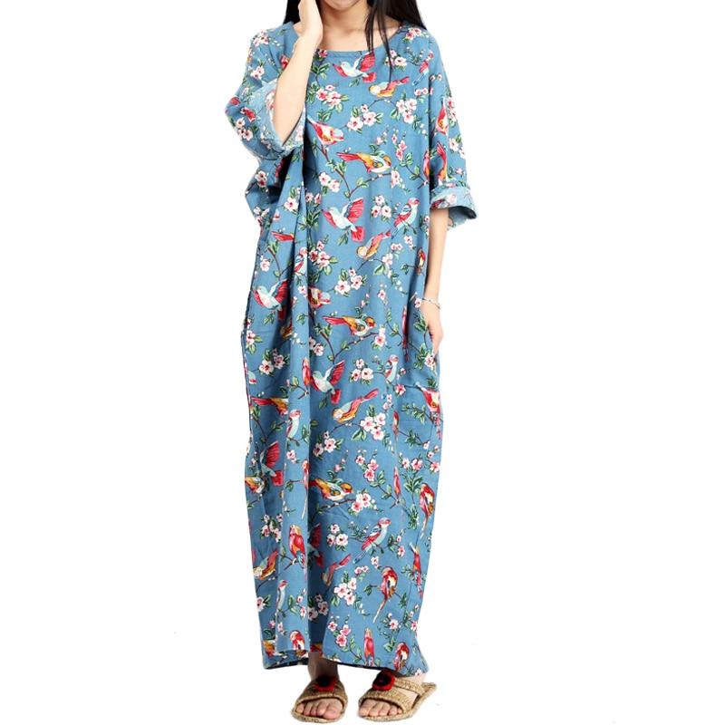 Grande taille Floral femmes Robe 2019 été longue Maxi Robe demi Betwing manches coton lin retour fente Vestidos Robe Longues Ete