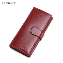 Large Capacity Women Clutch New Wallet Split Leather Wallet Female Long Wallet Women Zipper Purse Strap Hollow Out Coin Purse(China)