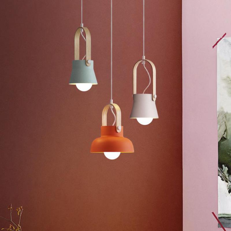 Sweden 1 pcs suspension pendant Lights for dining room Nordic Style Bar Restaurant Wooden iron pendant lamp E27 Kitchen Lighting
