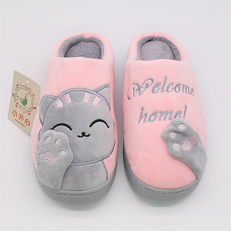 42-43 marr/ón Zapatillas de casa de invierno para mujer Gato de dibujos animados antideslizante Zapatos de piso de dormitorio c/álidos en el interior Zapatillas de felpa Zapatillas de mujer de piel sint/ética Chanclas