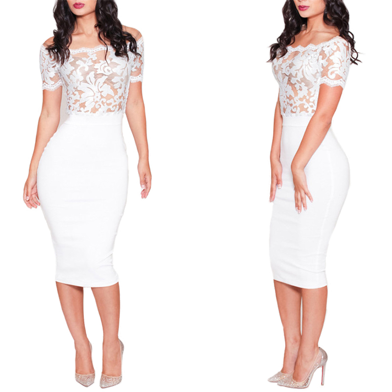 2015 Women Sexy Short Sleeve Lace Pencil Dress White Color ...