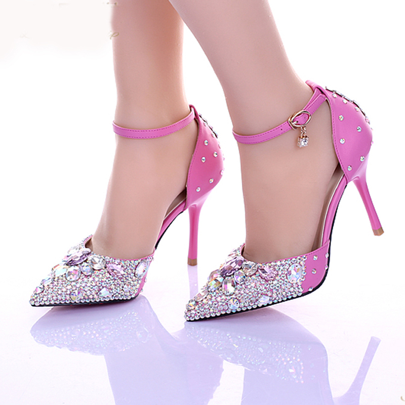 2016 Luxurious Sexy Pointed Toe Ankle Strap Prom Shoes Lady Diamond Wedding Shoes Pink Crystsal High Heel Bridal Shoes luxurious ankle strap chunky heel high