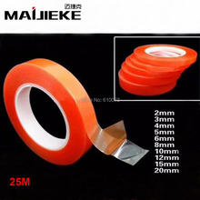 MAIJIEKE 25M Strong Acrylic Adhesive PET Red Film Clear Double Side Tape No Trace For Phone Tablet LCD Screen Glass