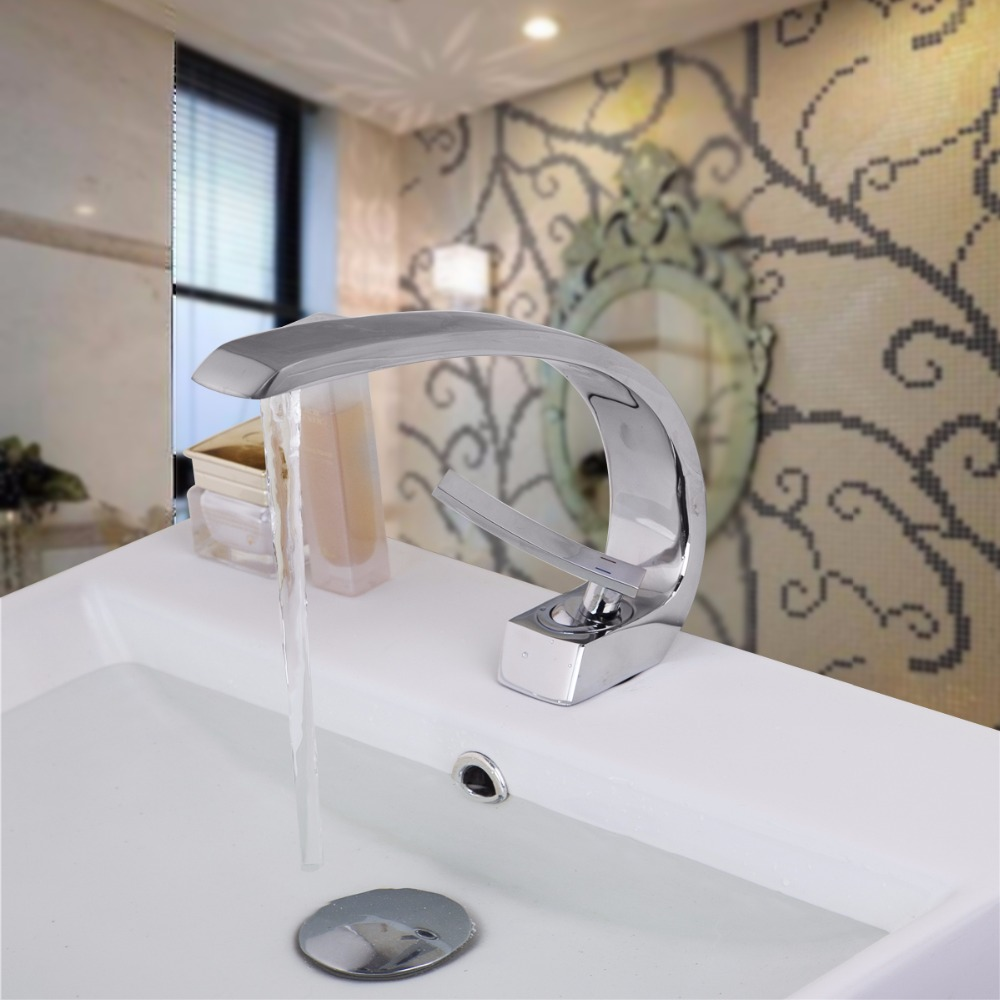Bathroom Basin Sink Faucet,Polished Chrome Deck Mounted Single Handle Mixer Taps,Hot&Cold Water Tap Faucets deck mount creative design basin sink faucet single handle chrome hot cold water vanity sink mixer taps