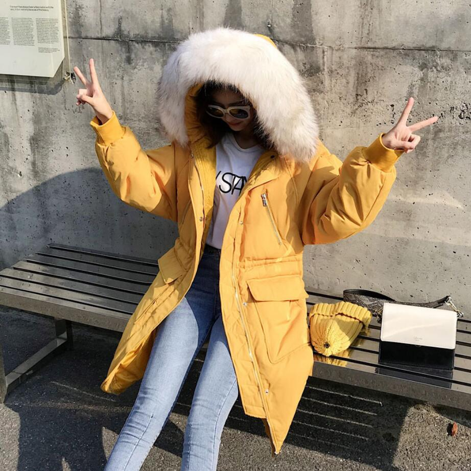 Large Fur collar   down     coat   2019 Winter Women Hooded warm White Duck   Down   Jacket Long Loose   Down   Parka High Quality r1429