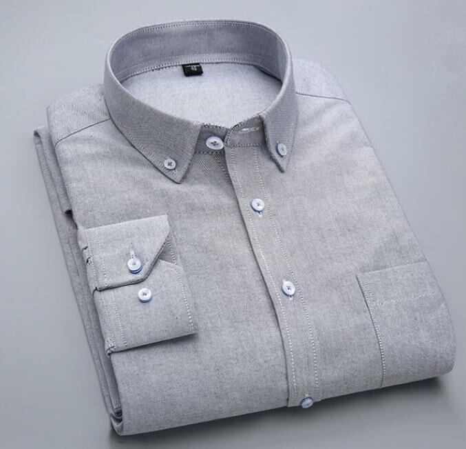2018 Осенняя Хлопковая мужская рубашка с длинными рукавами, деловая рубашка для больших мальчиков