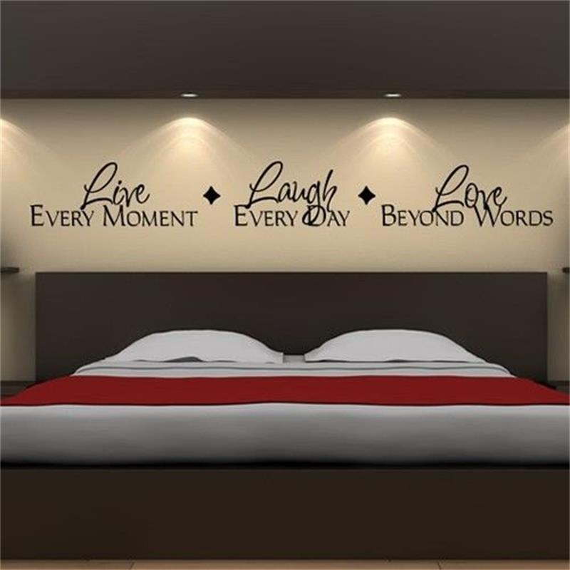 Live Every Moment Lough Every Day Love Beyond Words 8018. Vinyl Lettering Quotes Bedroom Wall Stickers Decor Home Decal Art