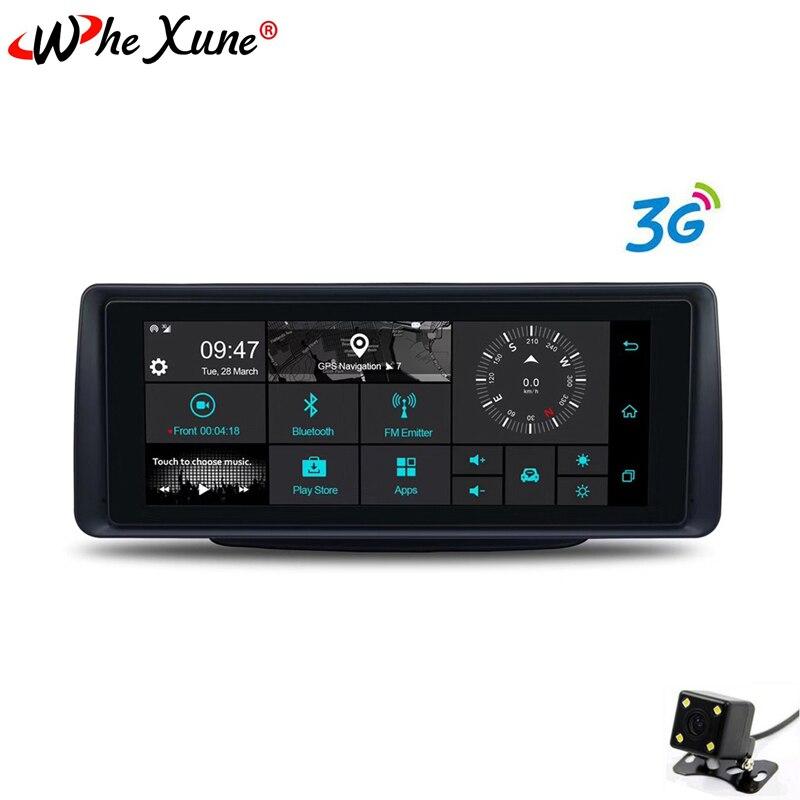 WHEXUNE 3G 6.86 pouces voiture DVR GPS Navigation Android Full HD 1080 p dash cam Auto enregistreur double lentille caméras surveillance de stationnement