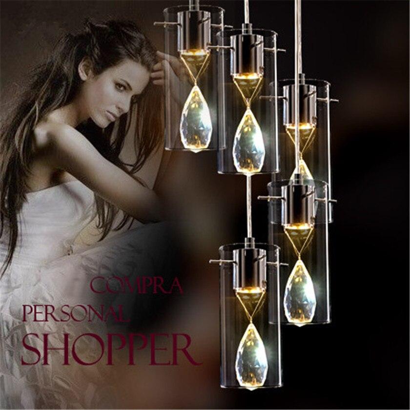 Européenne K9 pendentif en cristal Lampe verre créatif Abat-Jour led Lustre lampe suspendue Pour bar Salle À Manger led Lustre Droplight