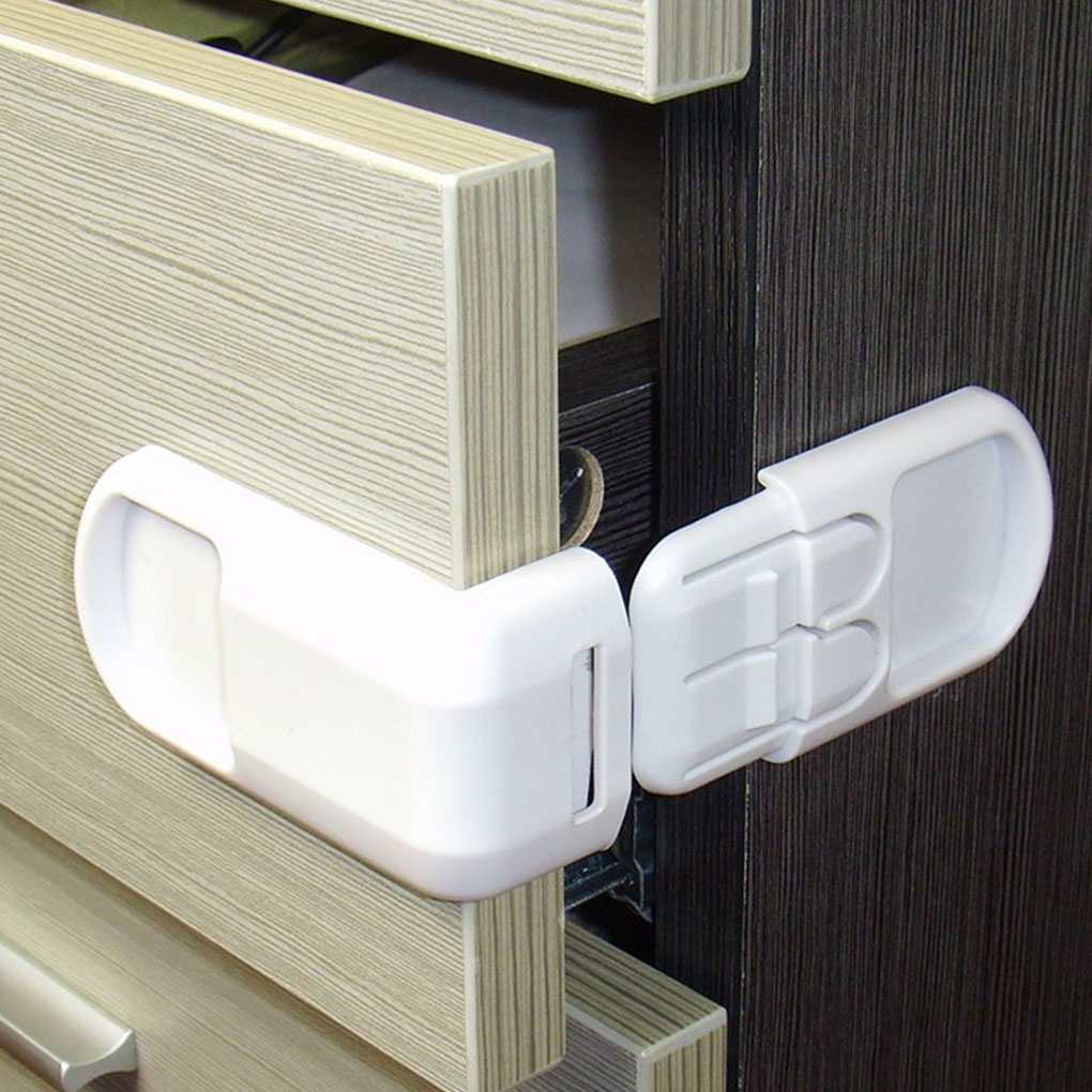 4 Pcs Multifunctional  Baby Child Safety Lock Double Snap Fastener Drawer Cabinet Door Right Angle