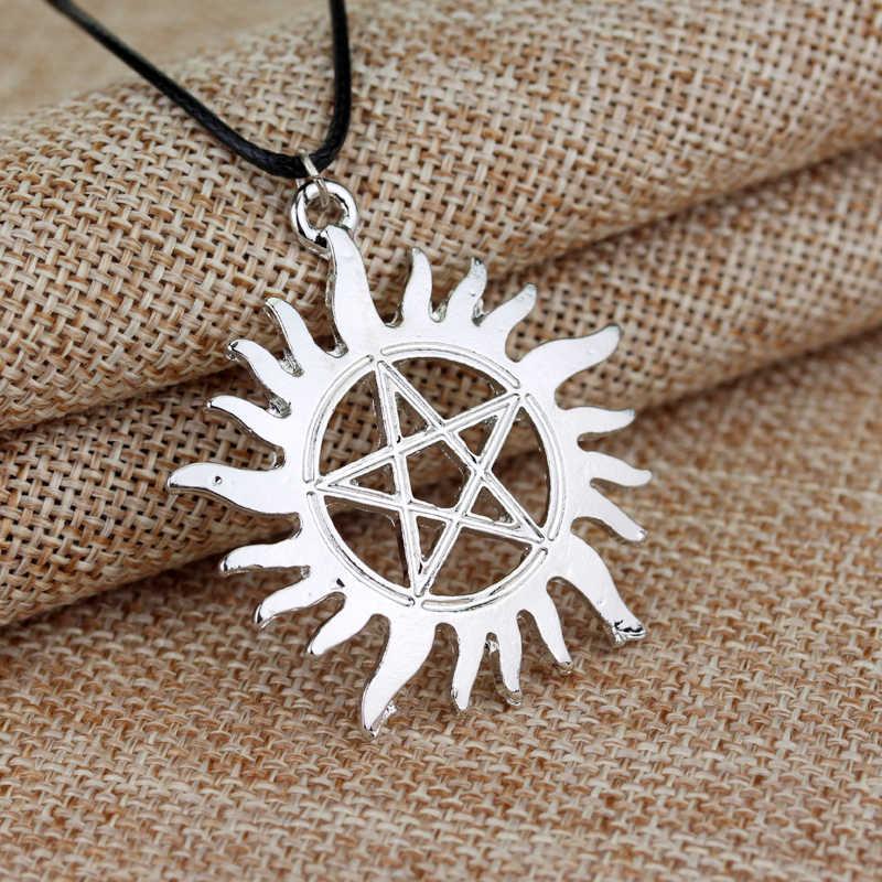 Popularny film Supernatural Dean Sun wisiorek w kształcie gwiazdy naszyjnik kolor srebrny skórzany łańcuszek kobiety męskie naszyjniki biżuteria akcesoria