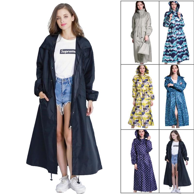 En plein air étanche long manteau de pluie femmes hommes poncho coupe-vent Tour Imperméable veste à capuche grande taille