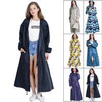 Outdoor waterproof long rain coat women men poncho windproof Tour Raincoat jacket hooded big size