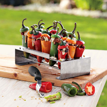 Stainless Steel Jalapeno Grill Rack Corer Set Barbecue Chili Pepper Roast 18 Hole Cook Chili Chicken Legs Wings BBQ Accessories