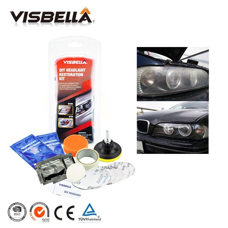 Visbella Scheinwerfer Aufheller Kit DIY scheinwerfer restaurierung für auto kopf lampe linsen Tiefe Sauber kopf licht Polnischen paste beste