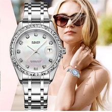2018 Luxury Brand OUBAOER Hot Ladie Watches Silver Women Elegant Dress Wristwatches Ladies Quartz Watch Relogio Feminino