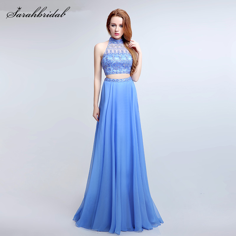 Sexy Two Pieces Halter Cut Back   Prom     Dresses   New Real Photo Crystal Beaded Chiffon Long Party Gown Vestidos De Noche LSX173