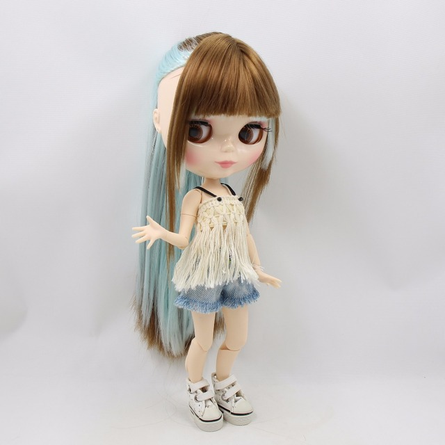 TBL Neo Blythe Doll Straight Brown Blue Hair Jointed Body