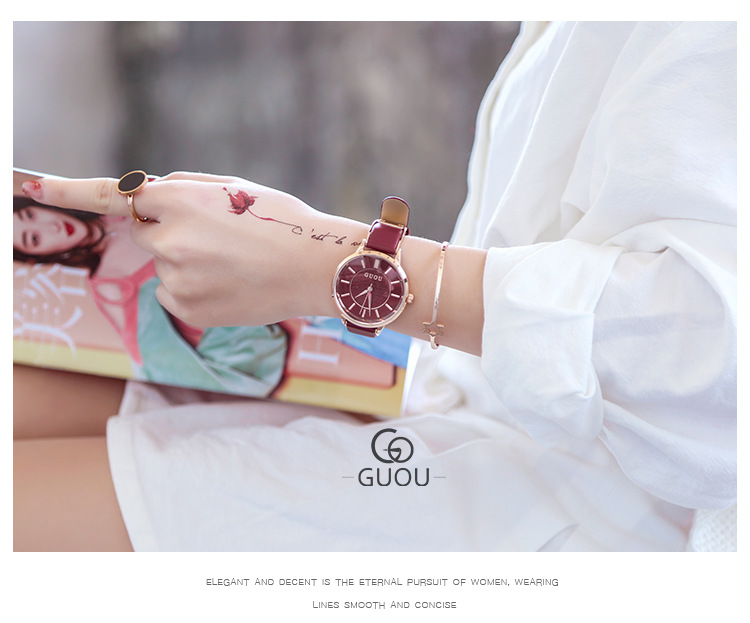 de pulso relógio de quartzo das mulheres do vinho vermelho