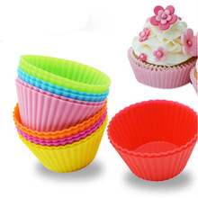 6pcs Silicone Mold Round Cupcake Soap Cake Muffin Baking Nonstick and Heat Resistant Reusable Molds