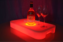 4Pcs/Lot Waterproof  Square LED Light Up Bar Serving Tray Multi Colors Rechargeable fruit drinks trays+ 24Keys Remote Controller