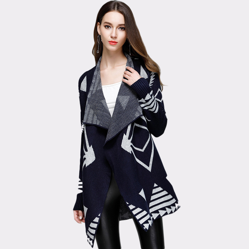 2017 Women Autumn Winter V-neck Open Stitch Loose Sweater Warm Geometry Long Cardigans Female Knitted Outwear Gebreide Feminino 4