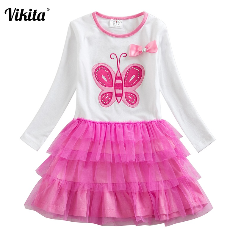 VIKITA 3-8Y Girls Dresses Clothes for Girls Tutu Princess Dresses Butterfly Children Autumn Winter Dress Clothing LH4555WHITE