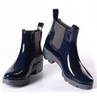 2017 Platform Rain Boots Ladies Rubber Ankle Boots Low Heels Women Boots Slip On Flats Shoes