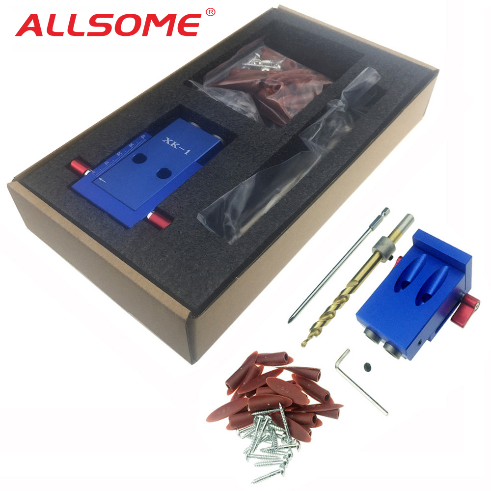 Mini Kreg Stil Tasche Loch Jig Kit System Für Holz Arbeits & Tischlerei + Schritt Bohrer & Zubehör Holz arbeit Werkzeug Set Mit Box