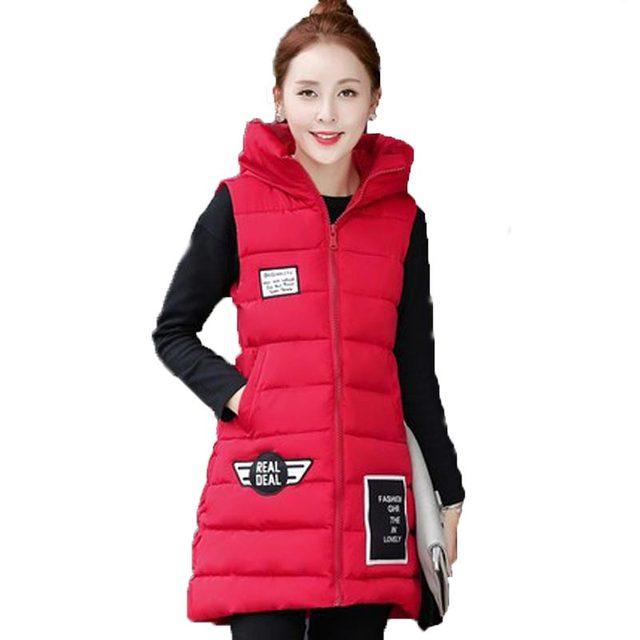 Осень зима новый хлопка мягкой жилет для женщин с капюшоном плюс размер ватные верхняя одежда тонкий патч дамы дизайн средней длины жилет kl664