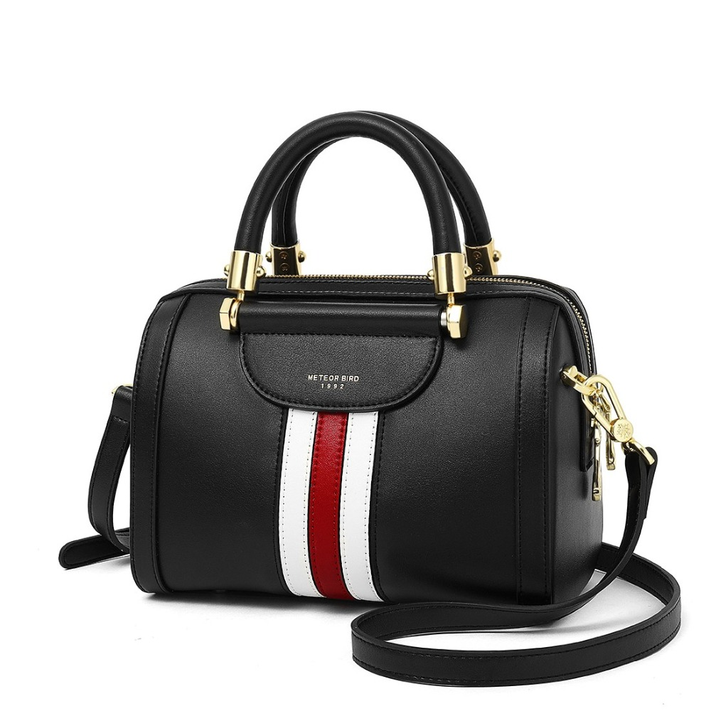 2018 Large Handbag Female Genuine Leather Crossbody Bags Classic Fashion Shoulder Bags Sac Main Femme Striped
