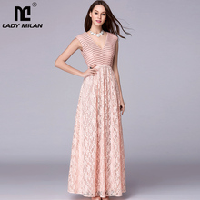 New Arrival Womens Sexy V Neck Embroidery Lace Patchwork Elegant Party Prom Floor Length Runway Dresses