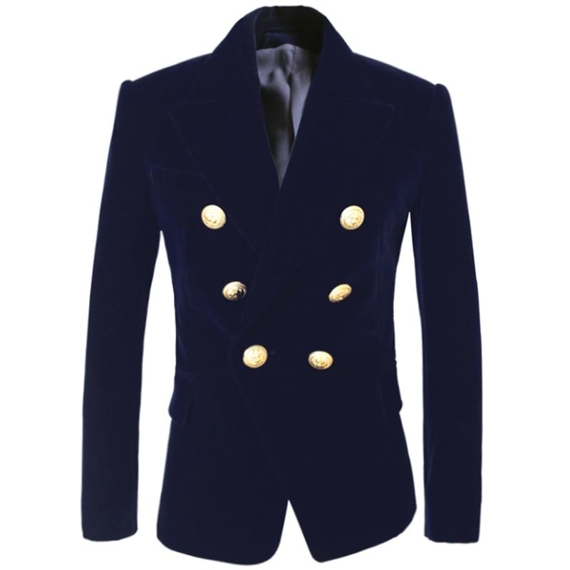 HIGH QUALITY Newest Fashion 2019 Designer Blazer Women's Double Breasted Lion Buttons Velvet Blazer Coat