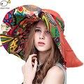 Чешского стиль! Шляпы вс шляпы для женщин летние шляпы большой солнце пляж шляпа chapeu роковой цветок печатных широкими полями летние шляпы для женщин шляпы женские летняя шляпа летних шляпы женские летние