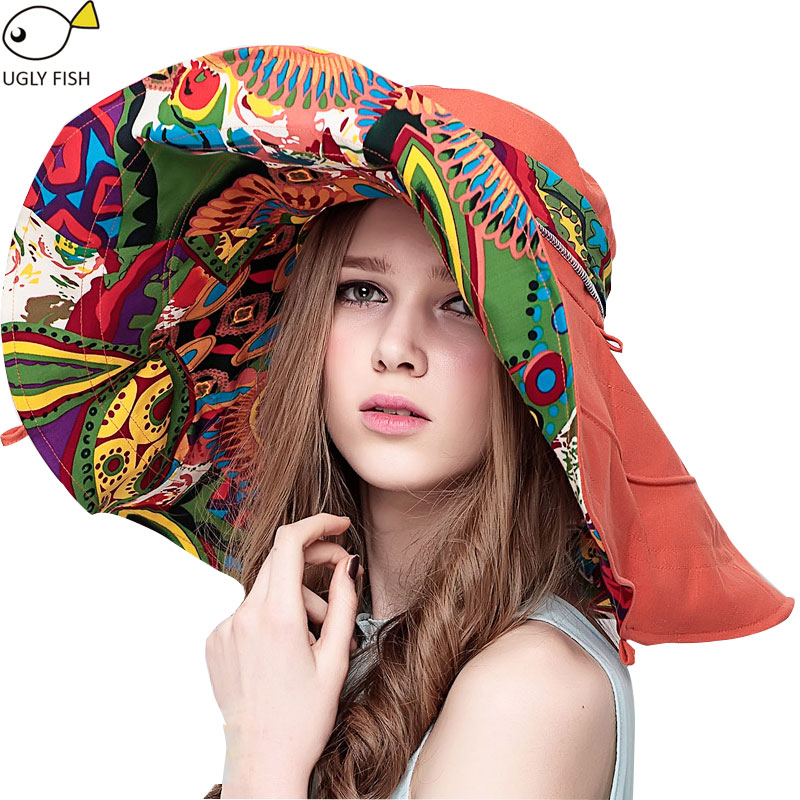 Sun Hats ! Hats Sun Hats For Women Summer Large Beach Hat Flower printed wide brim image