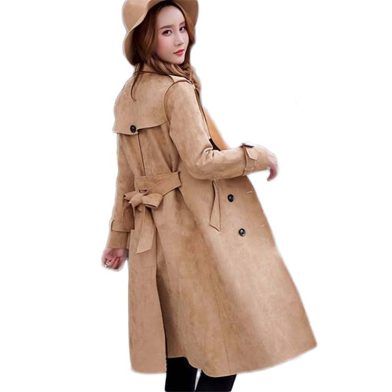 2019 Spring Autumn Women Suede   Trench   Coat Long Elegant Outerwear Female Slim Double Breasted   Trench   Overcoat Plus Size 6XL M41