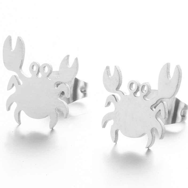 Stainless Steel Cute Cat Stud Earrings for Women Girls Minimalist Bird Paw Flamingo Mermaid Unicorn Earings Jewelry Animal Gifts
