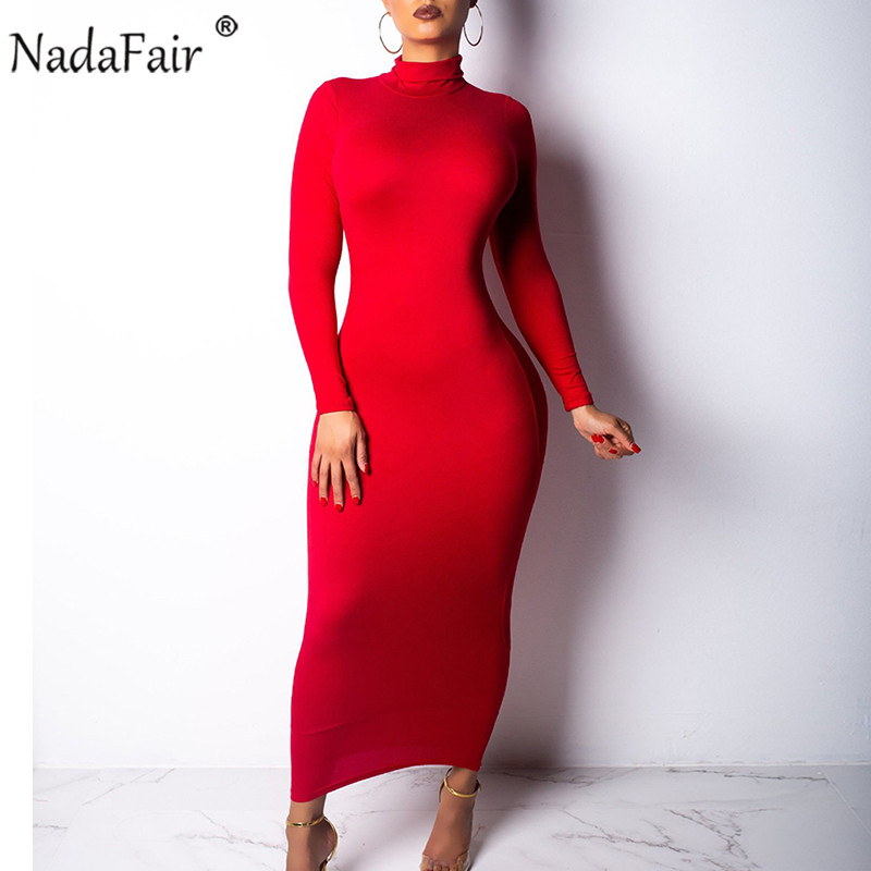 Nadafair 2019 Autumn Sexy Bodycon Long Dress Women Turtleneck Long Sleeve Winter Dress Red Black White Club Party Midi Dress