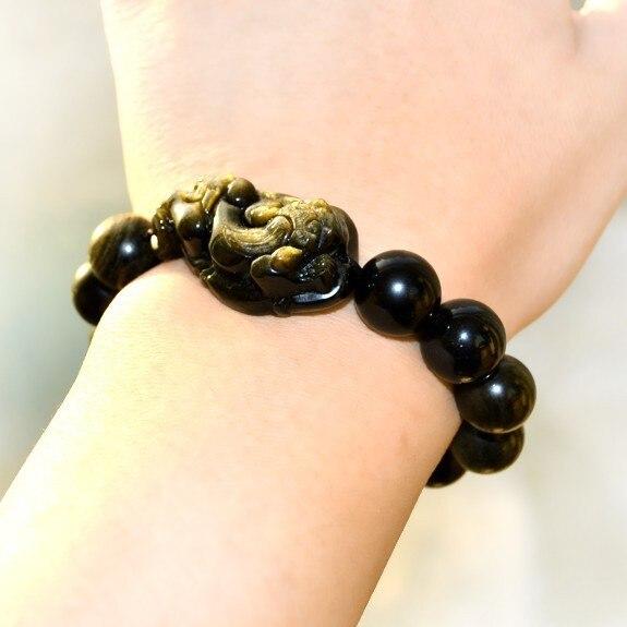 Good Luck Bracelets Feng Shui Wealth Pixiu Bracelet Jewelry Lucky Animal Obsidain Piyao Beaded