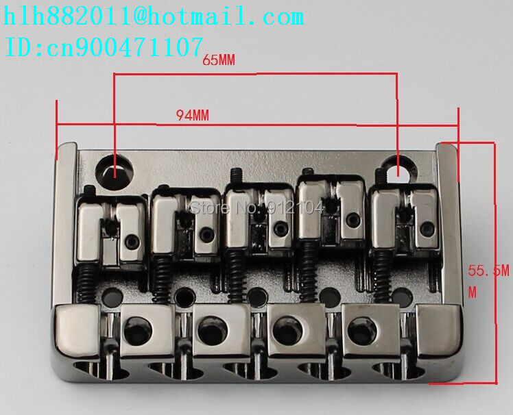 free shipping new 5 strings electric bass guitar bridge in chrome  L16 a set chrome vintage shape saddle bridge for 5 string electric bass guitar top load or strings through body