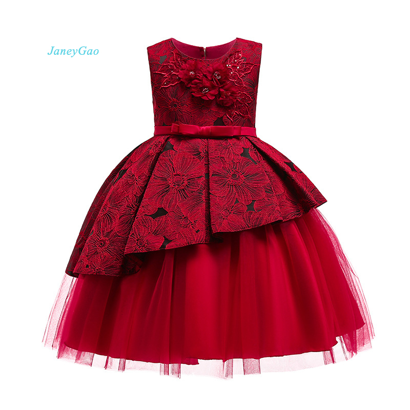 JaneyGao Flower Girl Dresses For Wedding Party With Appliques Wine Red Children Formal Dress First Communion Dress Pageant Style