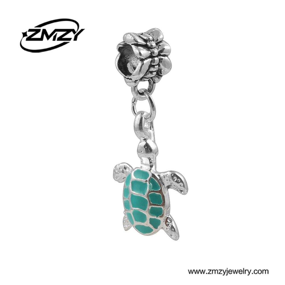 Fashion Silver Plated Enamel Metal Diy Tortoise Charms Beads Original Hnadmade Jewelry Pendant Fits Pandora Charm Bracelet
