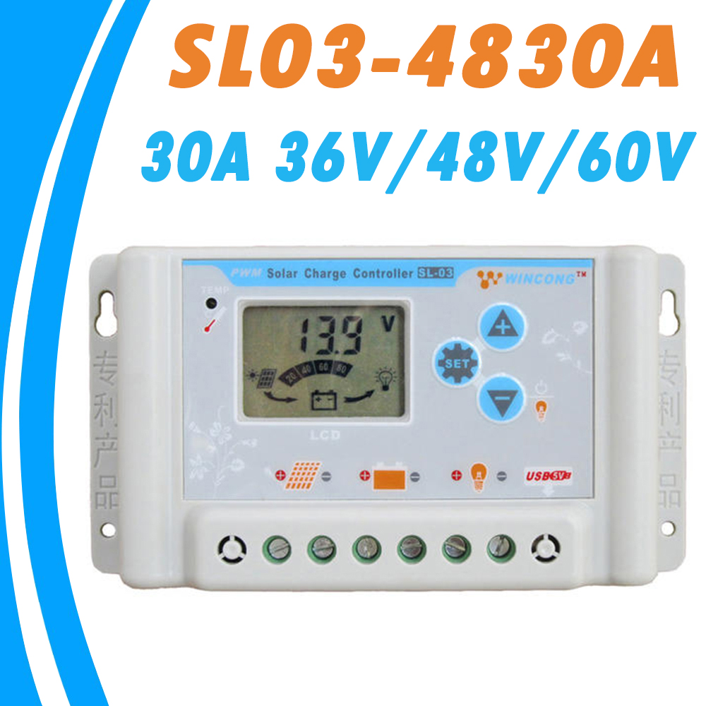 Solar Controller PWM 30A LCD 36V 48V 60V Auto Work LCD USB 5V Output with Load Light and Timer Control for all Kinds Batteries