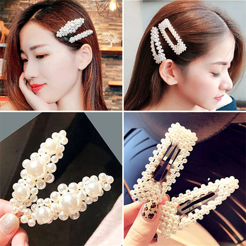 New Fashion Flower Pearl Hairpin Lady Hundred Korean Version Metal Side Clip Hair Decorations