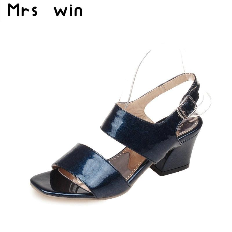 2017 New thick high heels sandals fashion women sandals square toe summer shoes woman black red blue women shoes big size 34-43 new fashion women casual shoes women sandals 2016 thick high square heels sandals black flock pumps